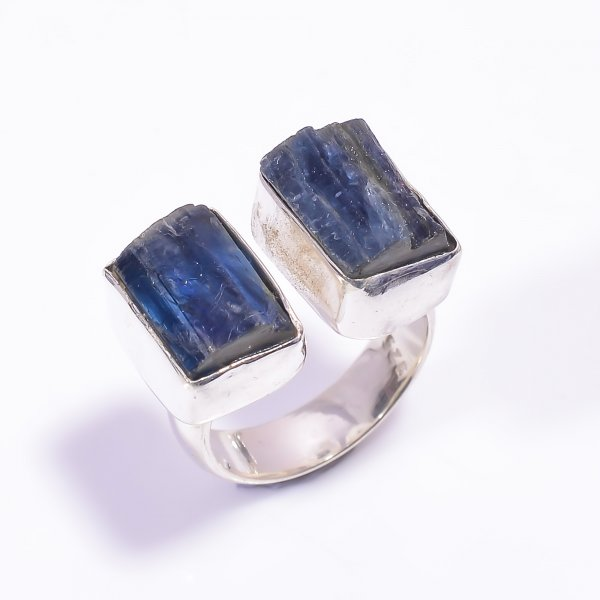 Blue Kyanite Raw Gemstone 925 Sterling Silver Ring Size US 5.75 Adjustable