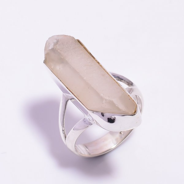 Crystal Raw Gemstone 925 Sterling Silver Ring Size US 9