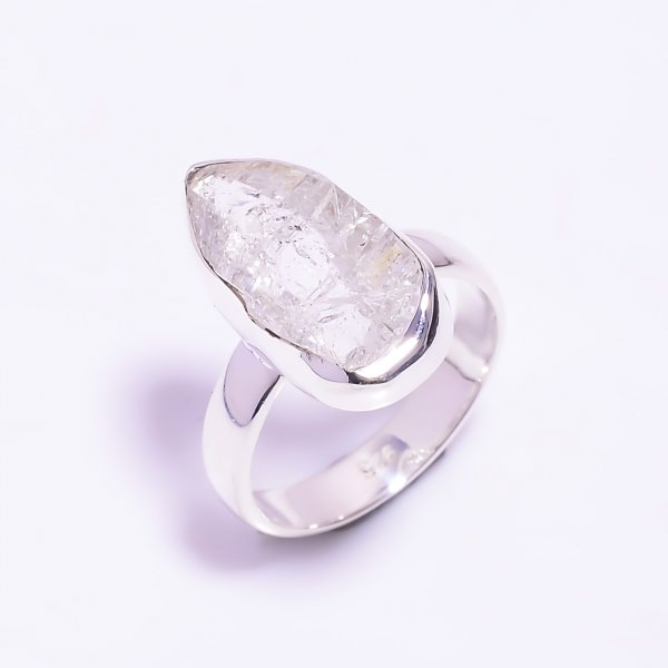 Raw Herkimer Diamond 925 Sterling Silver Ring Size US 6.25