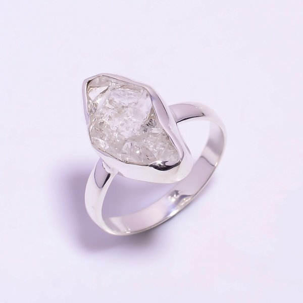 Raw Herkimer Diamond 925 Sterling Silver Ring Size US 12