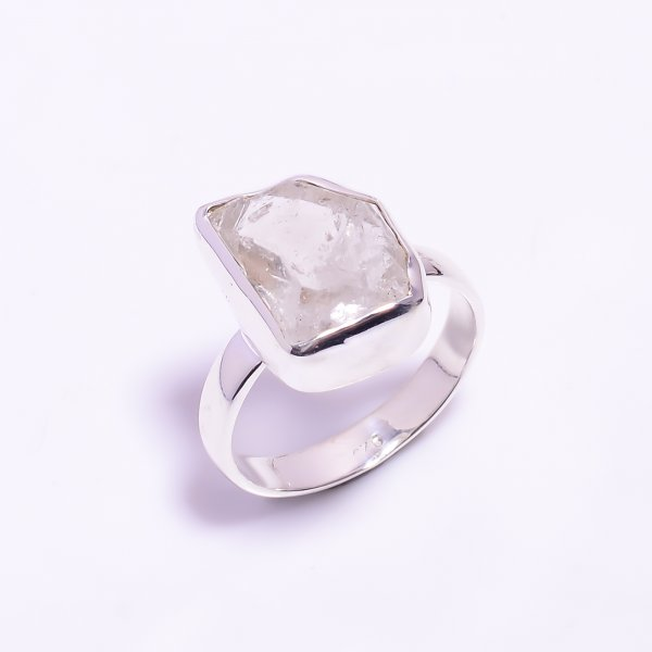Raw Herkimer Diamond 925 Sterling Silver Ring Size US 9.25