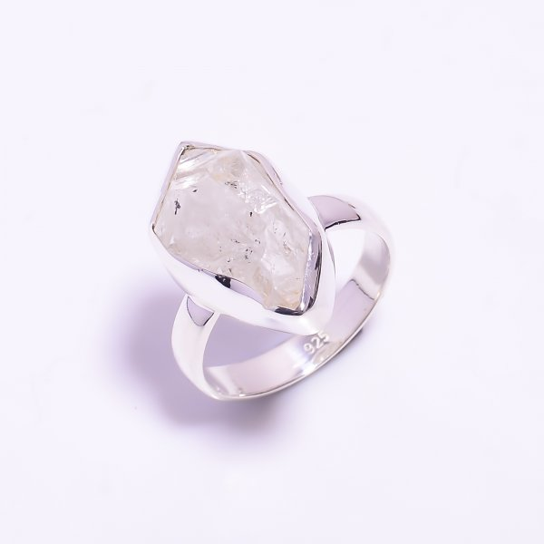 Raw Herkimer Diamond 925 Sterling Silver Ring Size US 7.5