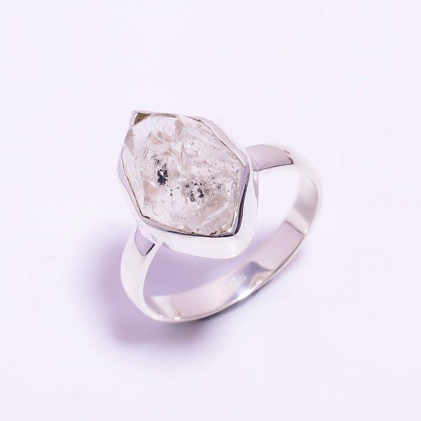 Raw Herkimer Diamond 925 Sterling Silver Ring Size US 11.75