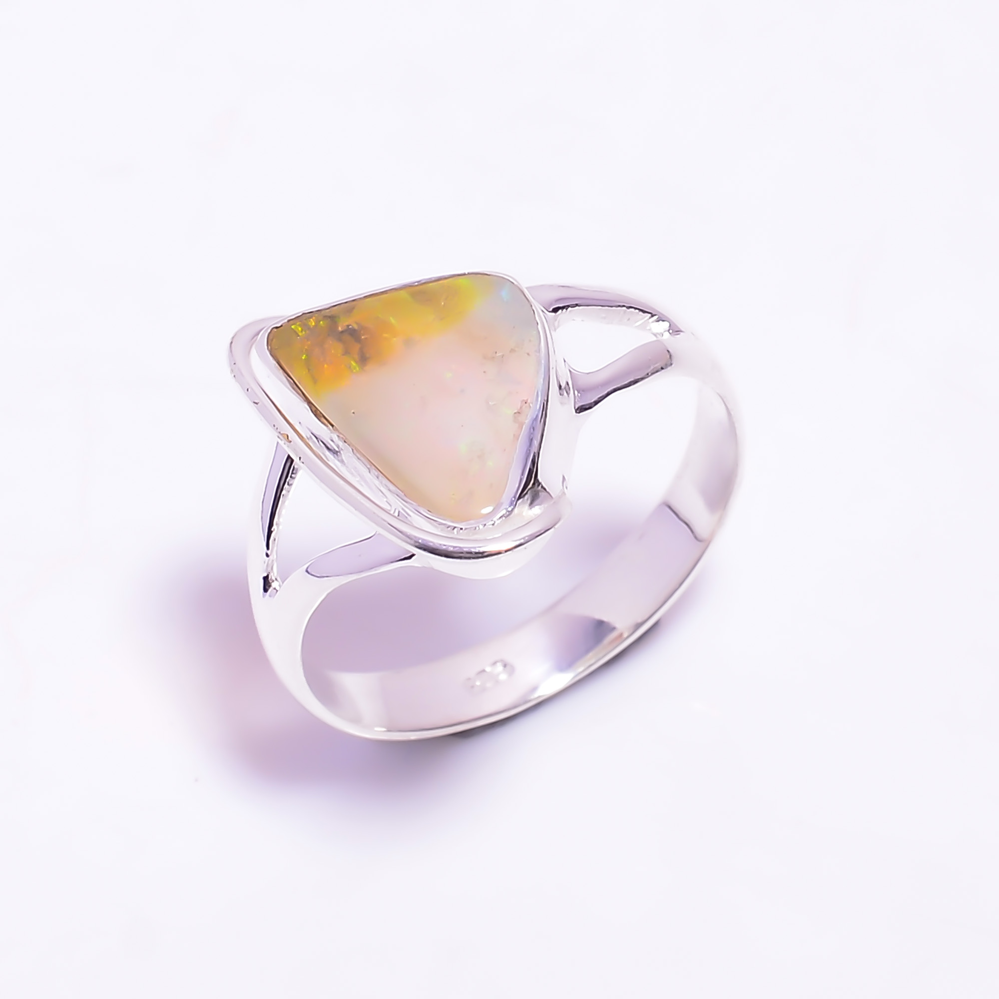 Australian Opal Raw Gemstone 925 Sterling Silver Ring Size US 8.5