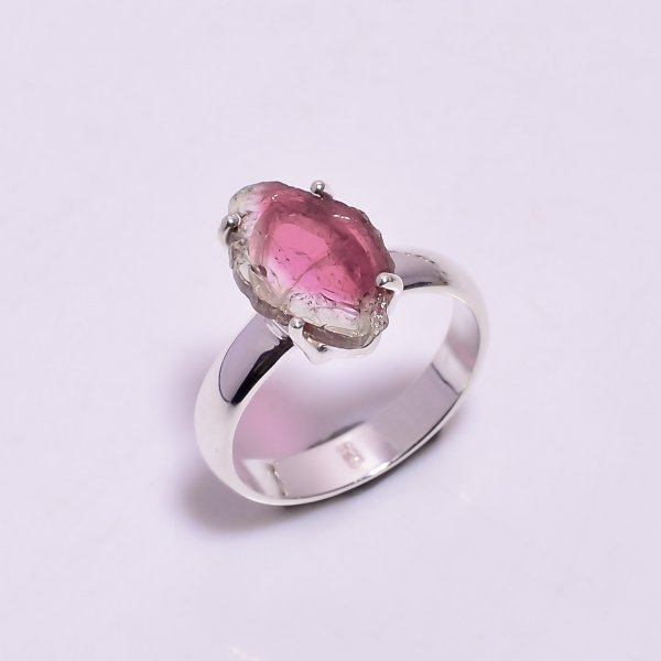 Watermelon Tourmaline Gemstone Raw 925 Sterling Silver Ring Size US 6.5
