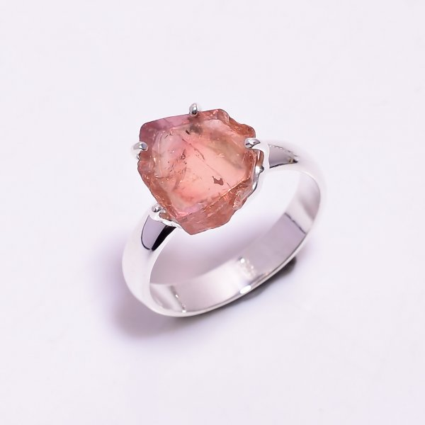 Watermelon Tourmaline Gemstone Raw 925 Sterling Silver Ring Size US 6.25