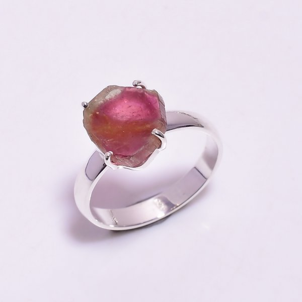 Watermelon Tourmaline Gemstone Raw 925 Sterling Silver Ring Size US 9
