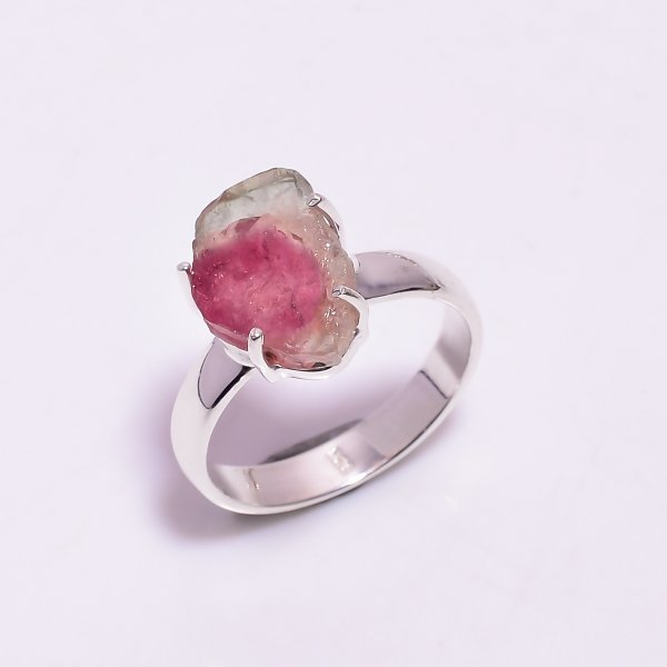Watermelon Tourmaline Gemstone Raw 925 Sterling Silver Ring Size US 7.5