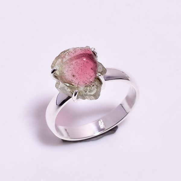 Watermelon Tourmaline Gemstone Raw 925 Sterling Silver Ring Size US 8