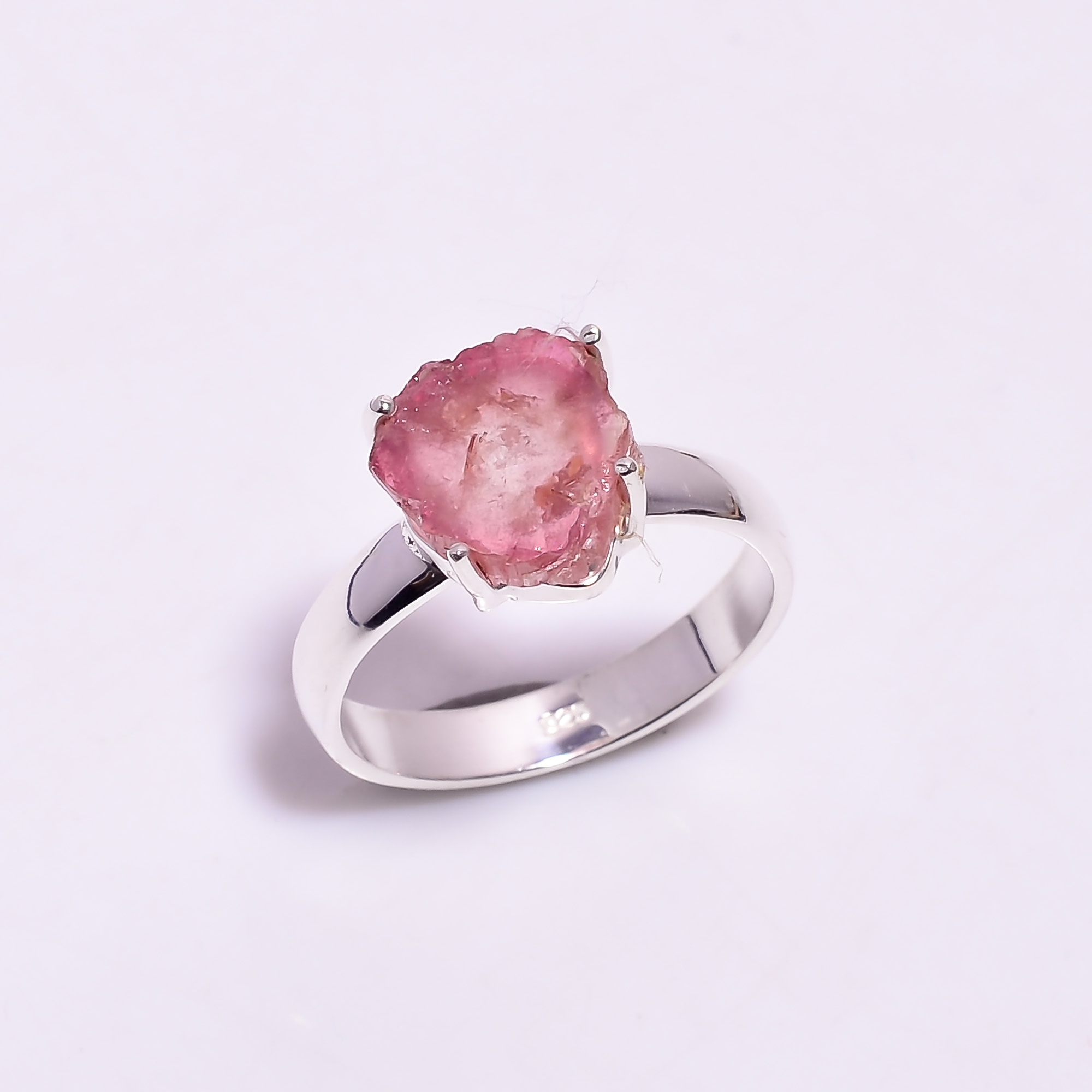 Watermelon Tourmaline Gemstone Raw 925 Sterling Silver Ring Size US 7.25