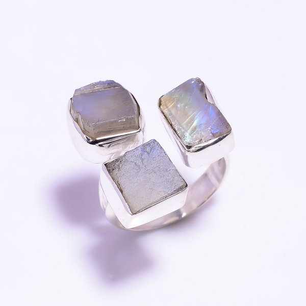 Natural Rainbow Moonstone Raw 925 Sterling Silver Ring Size US 6.25 Adjustable