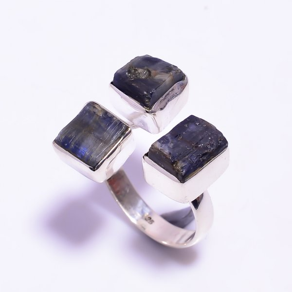Raw Blue Kyanite Gemstone 925 Sterling Silver Ring Size US 7.5 Adjustable