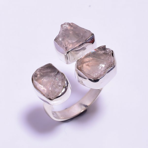 Raw Rose Quartz Gemstone 925 Sterling Silver Ring Size US 8 Adjustable