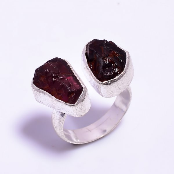 Raw Garnet Gemstone 925 Sterling Silver Ring Size US 7.25 Adjustable