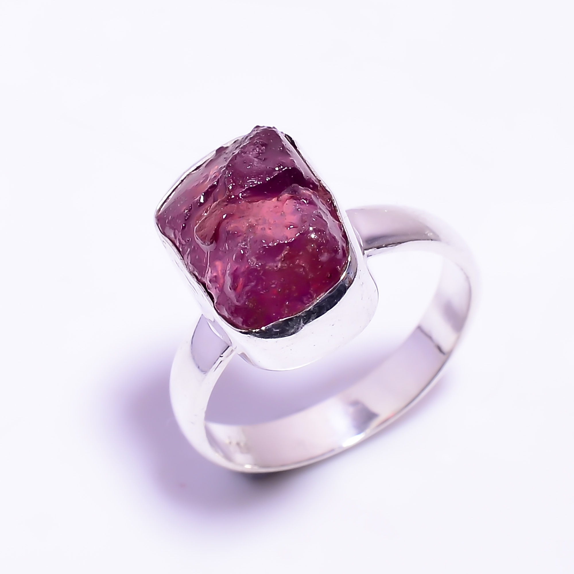 Raw Ruby Gemstone 925 Sterling Silver Ring Size US 8.25