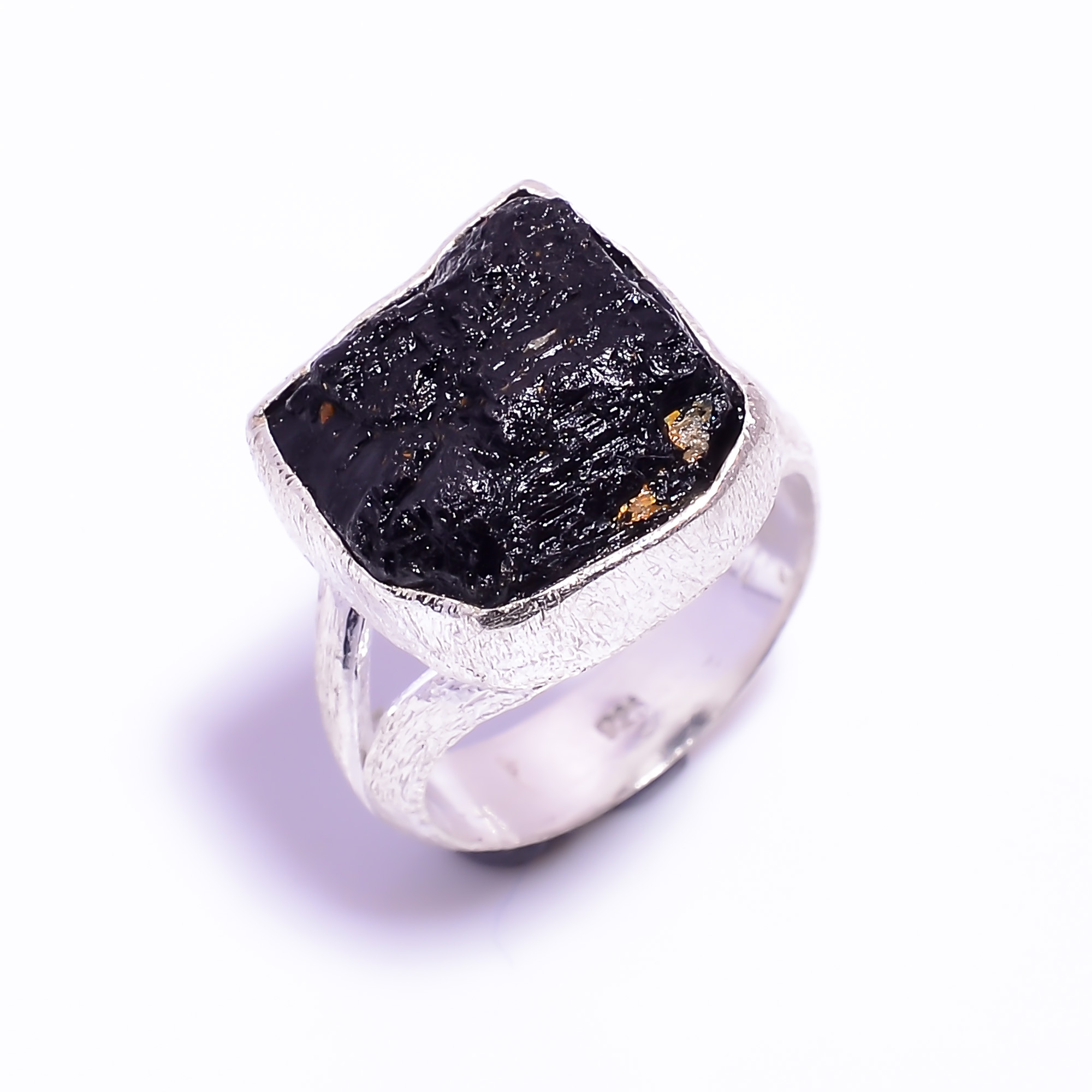 Raw Black Tourmaline Gemstone 925 Sterling Silver Ring Size US 6