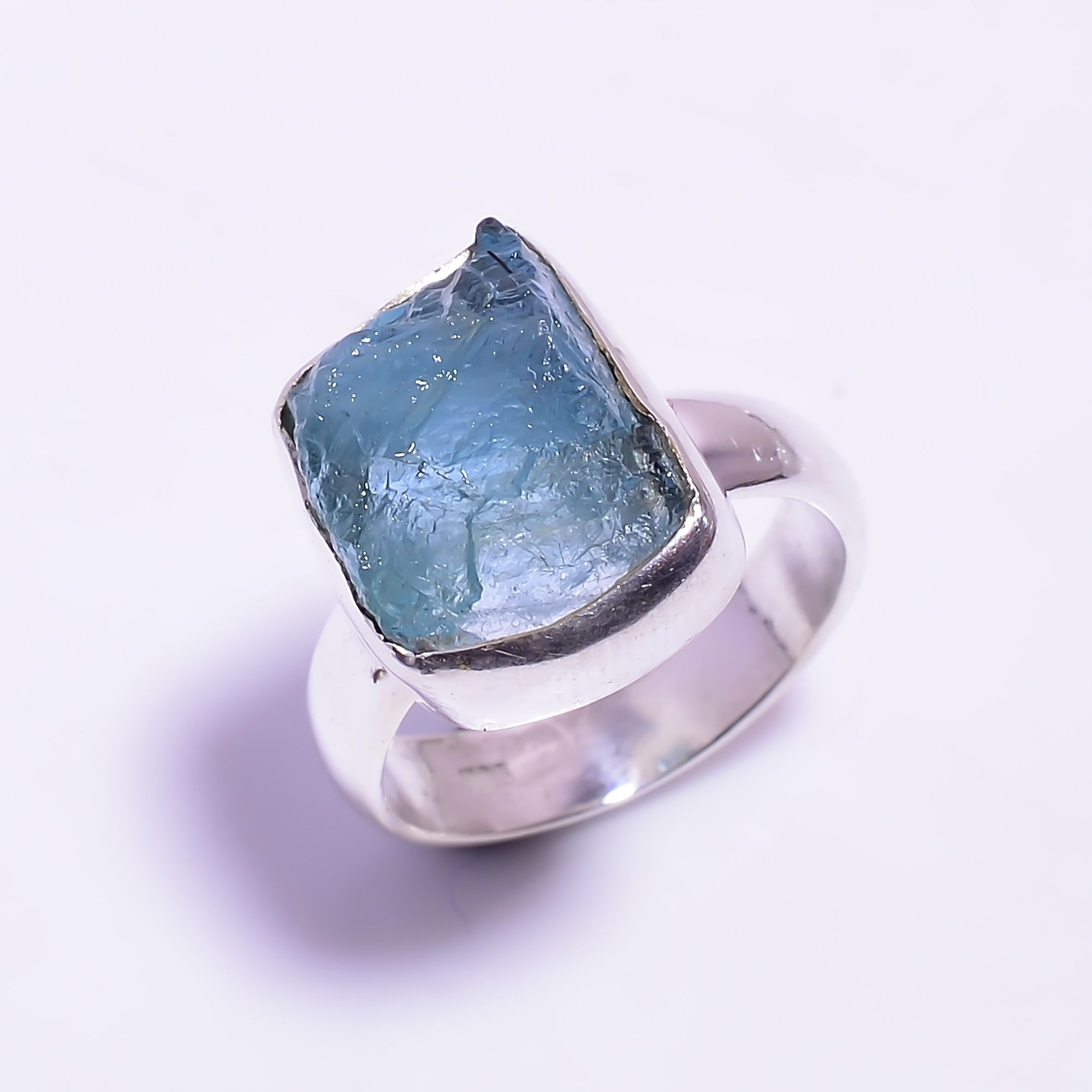 Raw Aquamarine Gemstone 925 Sterling Silver Ring Size US 6.5