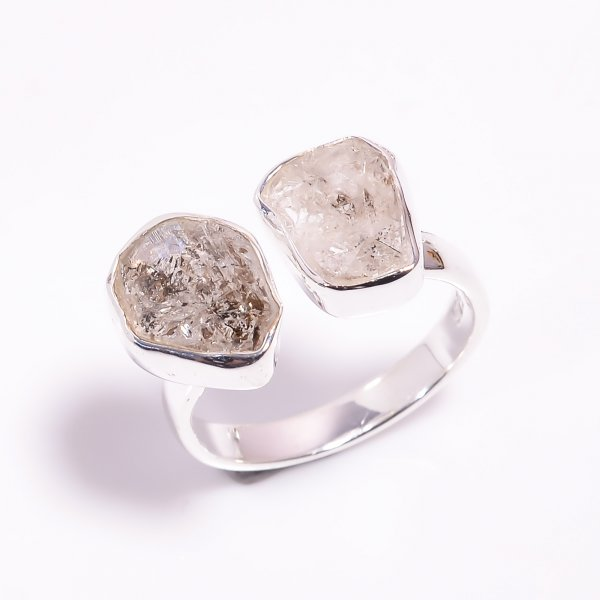 Natural Herkimer Diamond 925 Sterling Silver Ring Size US 8.25 Adjustable