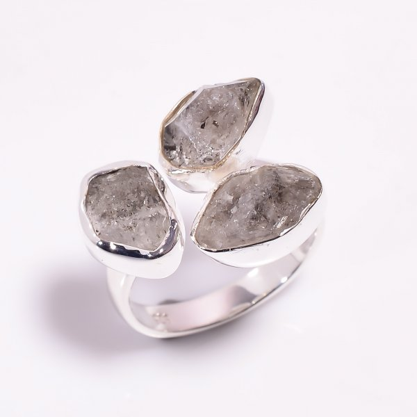 Natural Herkimer Diamond 925 Sterling Silver Ring Size US 7.75 Adjustable