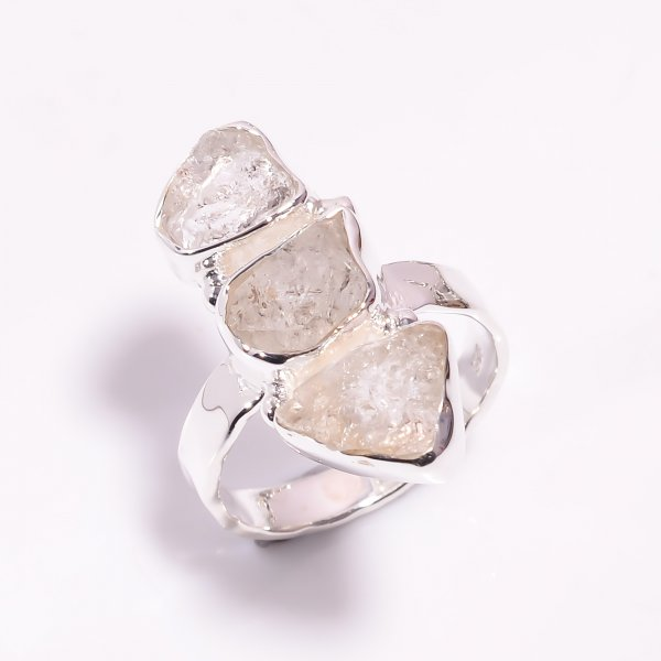 Natural Herkimer Diamond 925 Sterling Silver Hammered Ring