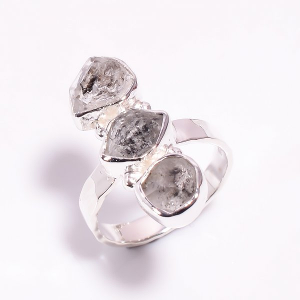 Natural Herkimer Diamond 925 Sterling Silver Hammered Ring Size US 8.25