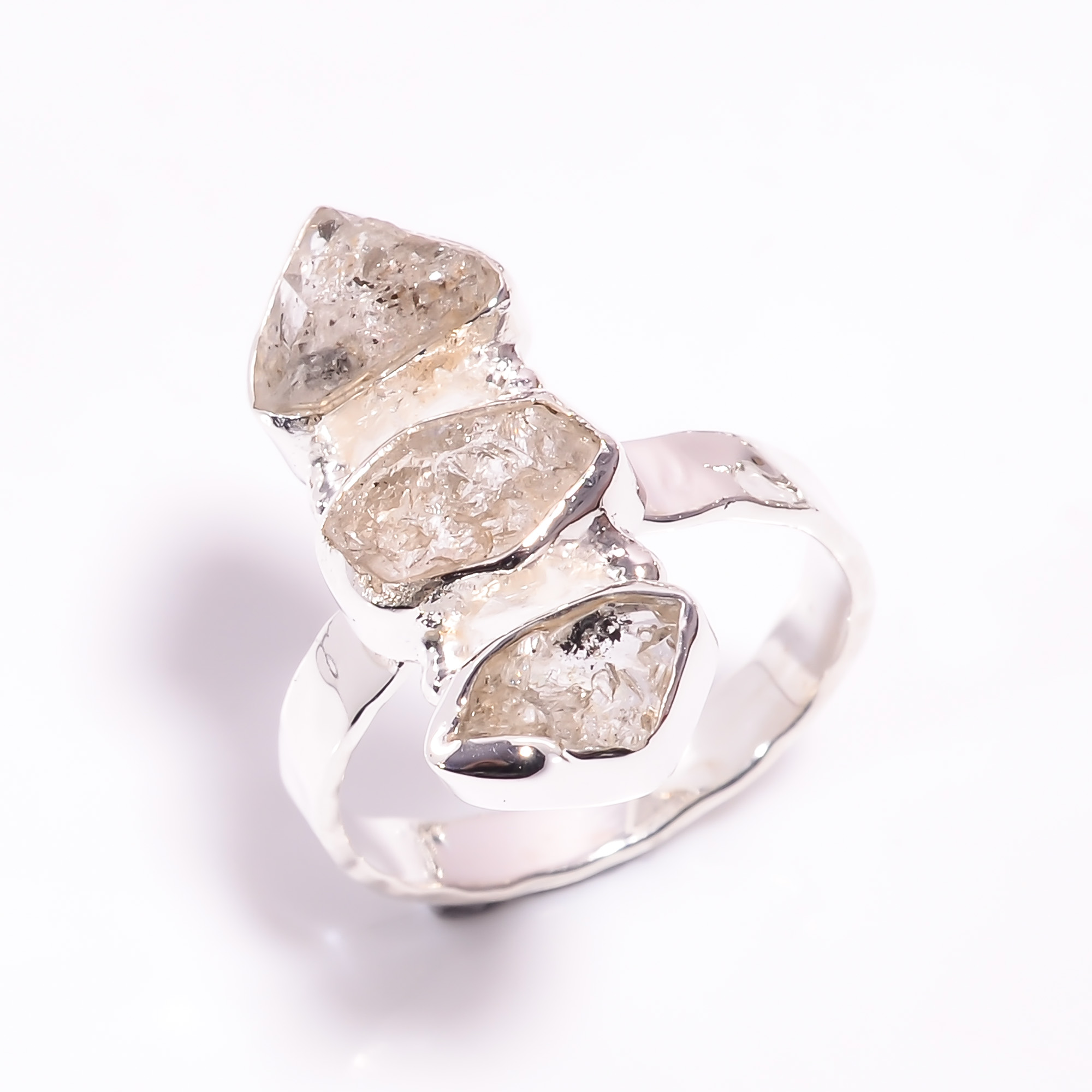 Raw Herkimer Diamond 925 Sterling Silver Hammered Ring Size US 9.25