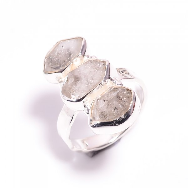 Natural Herkimer Diamond 925 Sterling Silver Hammered Ring Size US 6.25