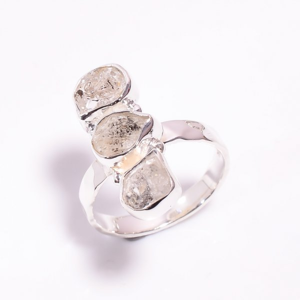 Natural Herkimer Diamond 925 Sterling Silver Hammered Ring Size US 9.25