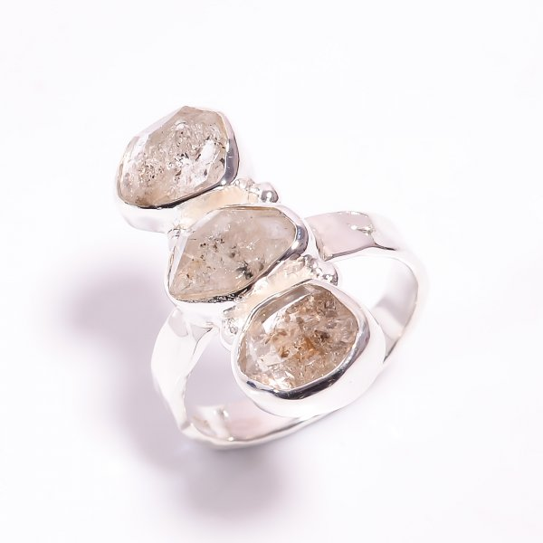 Natural Herkimer Diamond 925 Sterling Silver Hammered Ring Size US 7.25