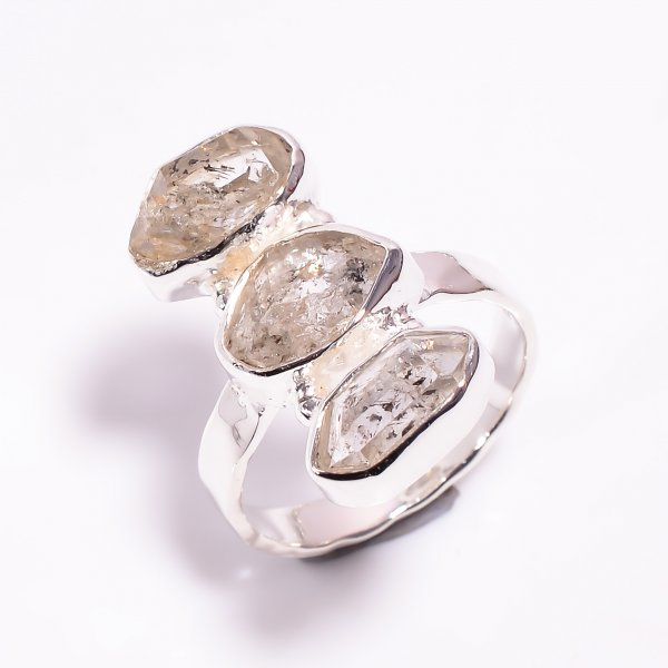 Natural Herkimer Diamond 925 Sterling Silver Hammered Ring Size US 8