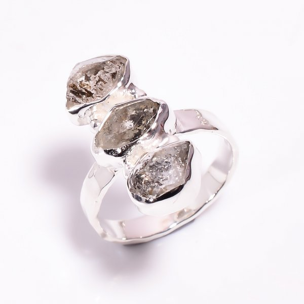 Natural Herkimer Diamond 925 Sterling Silver Hammered Ring Size US 7.5
