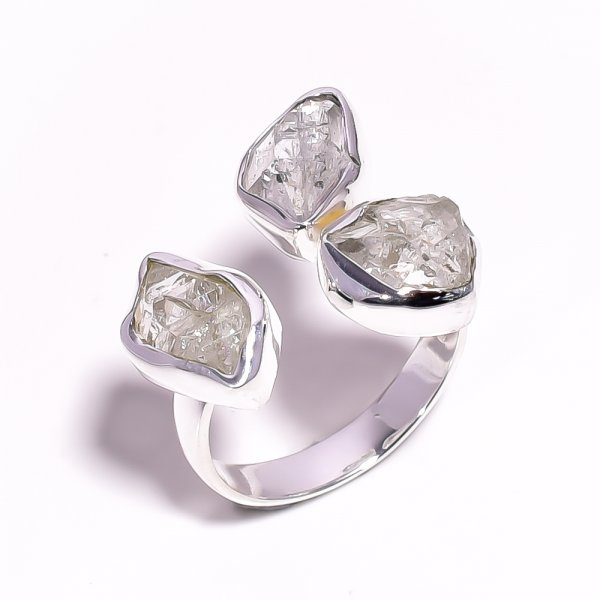 Natural Herkimer Diamond 925 Sterling Silver Adjustable Ring