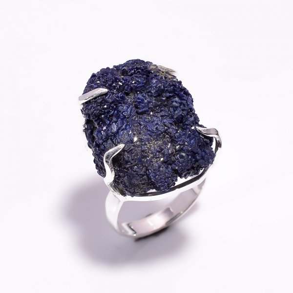 Natural Raw Azurite Gemstone 925 Sterling Silver Ring Size US 8.25