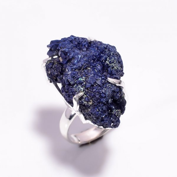 Natural Raw Azurite Gemstone 925 Sterling Silver Ring Size US 6.25