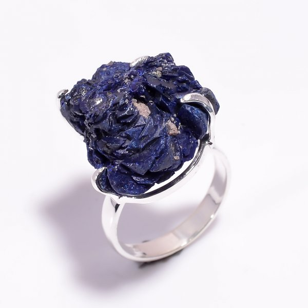 Natural Raw Azurite Gemstone 925 Sterling Silver Ring Size US 9.25