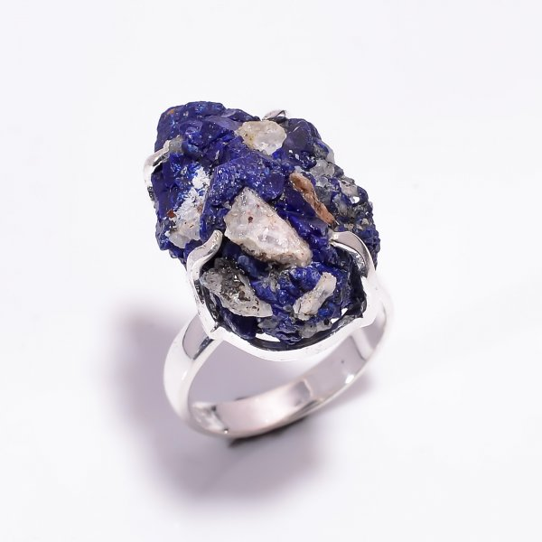 Natural Raw Azurite Gemstone 925 Sterling Silver Ring Size US 7.25