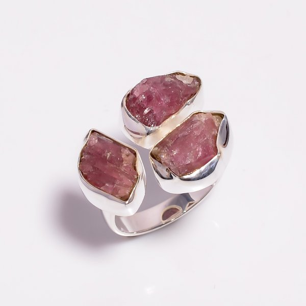 Raw Pink Tourmaline Gemstone 925 Sterling Silver Ring Size US 8.5 Adjustable