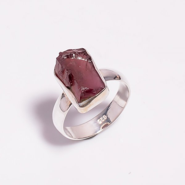 Raw Garnet Gemstone 925 Sterling Silver Ring Size US 8.25