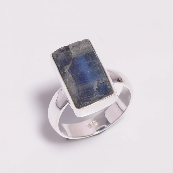 Raw Blue Kyanite Gemstone 925 Sterling Silver Ring Size US 6.75