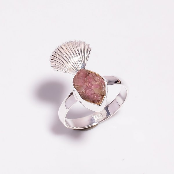 Raw Pink Tourmaline Gemstone 925 Sterling Silver Ring Size US 7.25