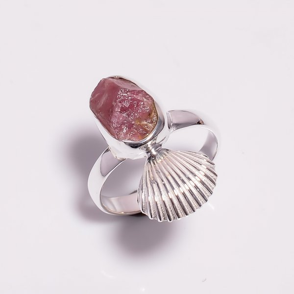 Raw Pink Tourmaline Gemstone 925 Sterling Silver Ring Size US 8.25