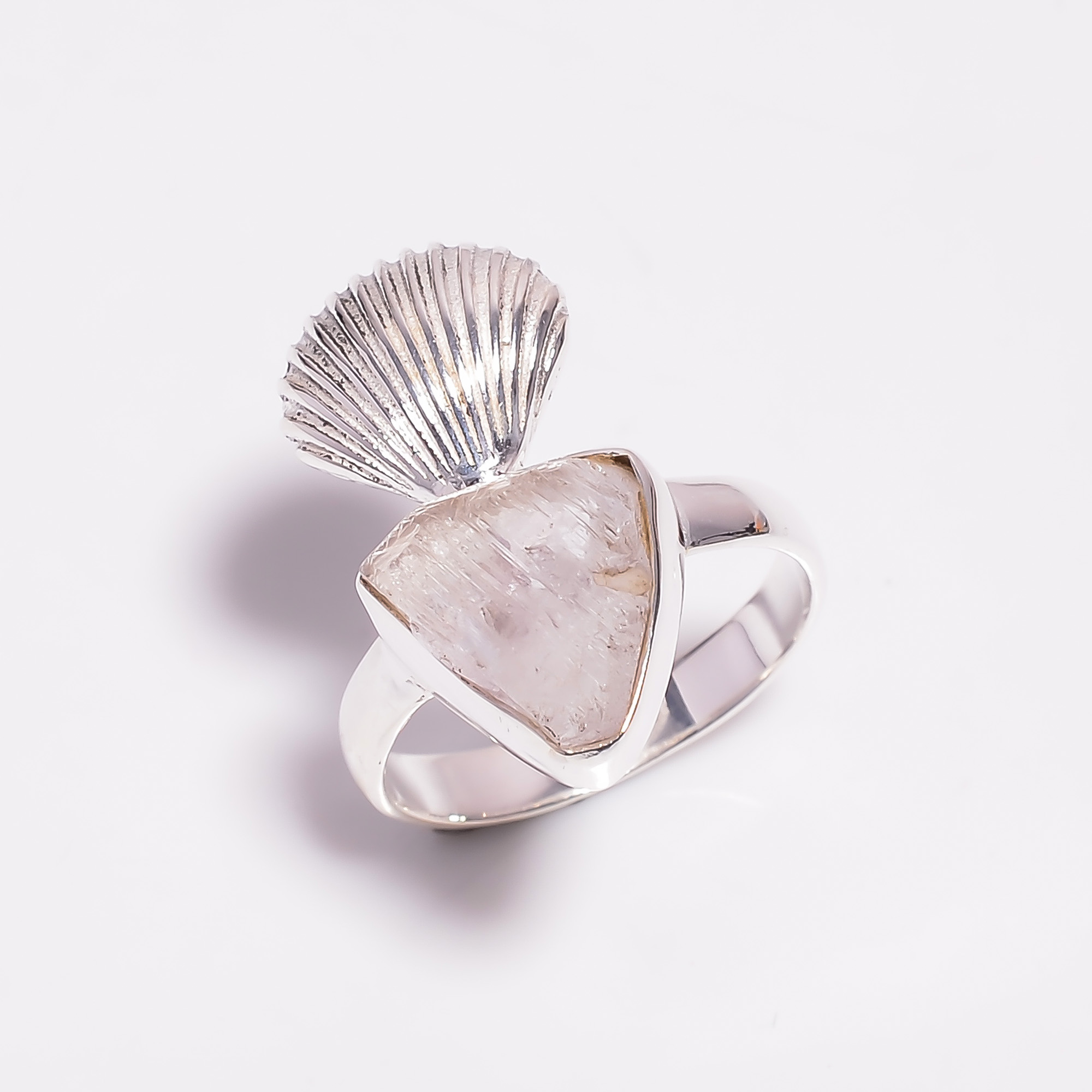 Raw Kunzite Gemstone 925 Sterling Silver Ring Size US 6.75