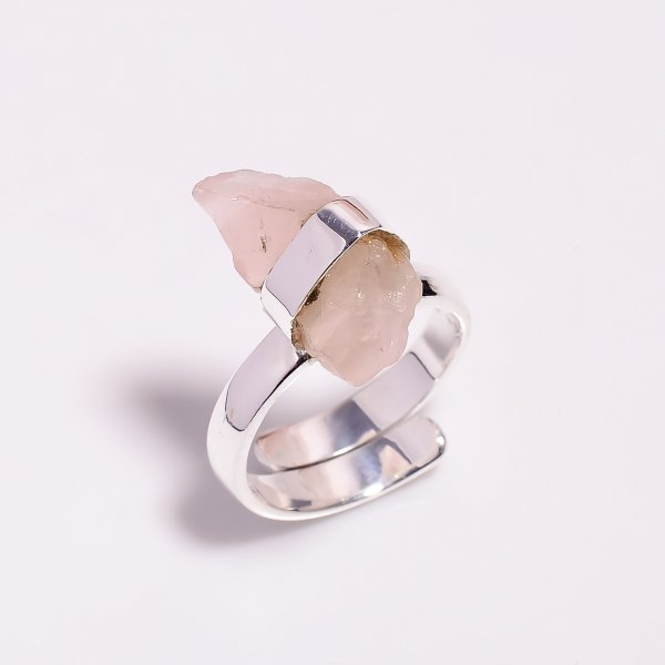Natural Rose Quartz 925 Sterling Silver Ring Size US 7.75 Adjustable