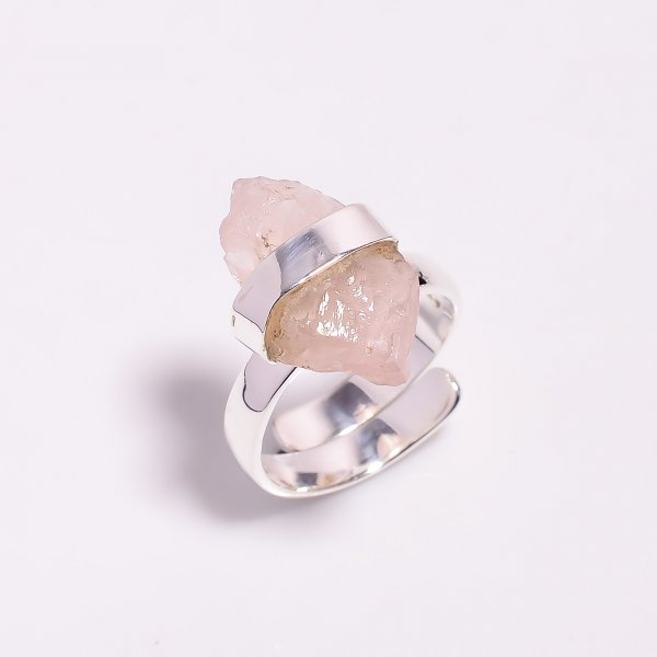 Natural Rose Quartz 925 Sterling Silver Ring Size US 7 Adjustable
