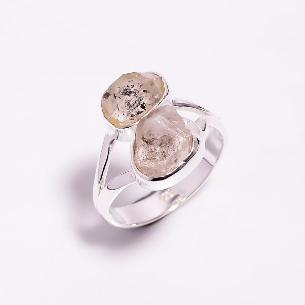 Natural Herkimer Diamond 925 Sterling Silver Ring