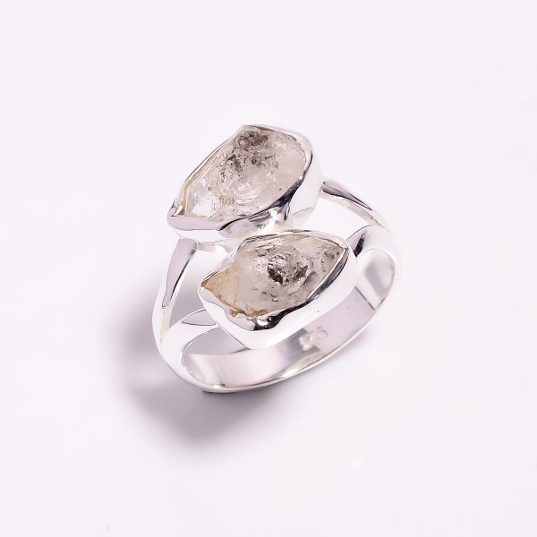 Natural Herkimer Diamond 925 Sterling Silver Ring Size US 8.25