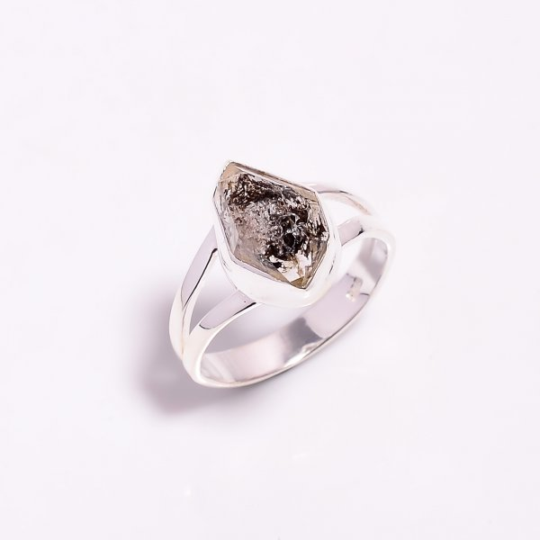 Natural Herkimer Diamond 925 Sterling Silver Ring Size US 7.25