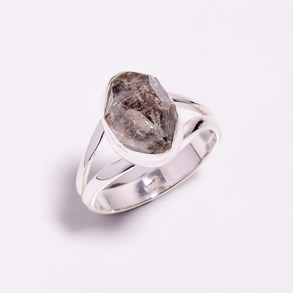 Natural Herkimer Diamond 925 Sterling Silver Ring Size US 8