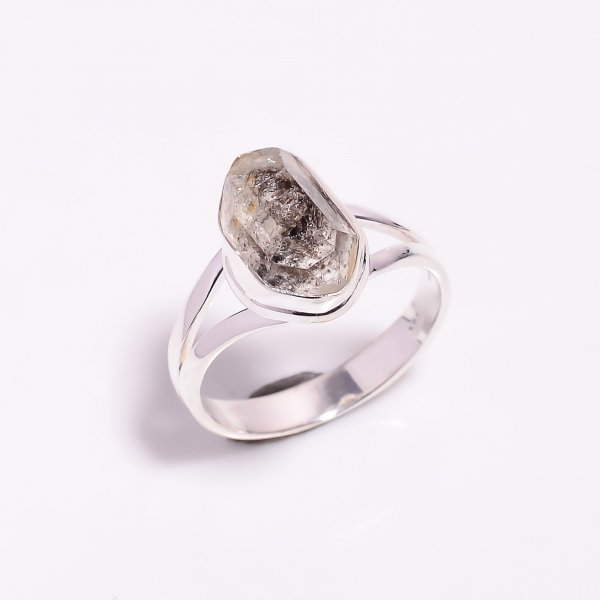 Natural Herkimer Diamond 925 Sterling Silver Ring Size US 8.75