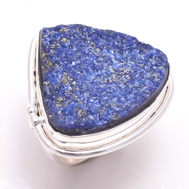 Lapis Raw Gemstone 925 Sterling Silver Ring Size 6